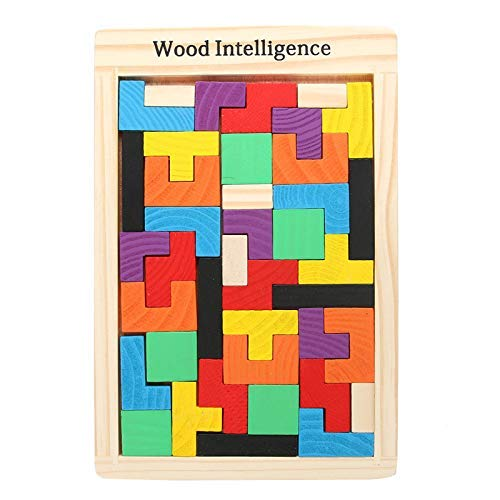 Rvold Wooden Tetris Jigsaw Puzzle Toy with Colorful Blocks - Best Play School Toy Game
