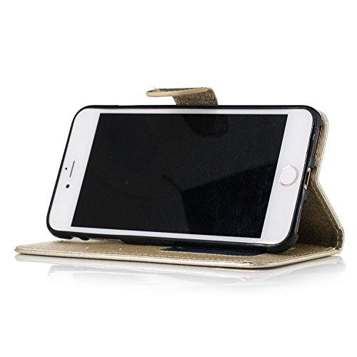 Slynmax Cover iPhone 7 Plus / iPhone 8 Plus Custodia Flip Case Pelle PU Cuoio Morbida Libro Magnetico Portafoglio Wallet Modello di Posta Design di Lusso in rosso + 1* Stilo Stylus Penna Capacitiva Gold
