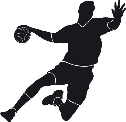 Wandtattoo Wandaufkleber Handballer Torschuss #120B schwarz 92cm x 90cm (RAL9005) VERSANDKOSTENFREI!