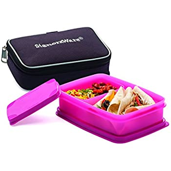 Signoraware Compact Small Lunch Box with Bag, Pink