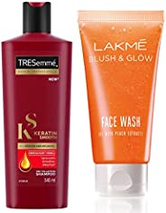 TRESemme Keratin Smooth Shampoo, 340ml & Lakmé Blush and Glow Peach Gel Face Wash, 100g