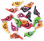 Prapti handicrafts Wooden Bird Beads (2.5 cm) for Beading, Jewellery Making & Art Craft Work - Pack of 25-