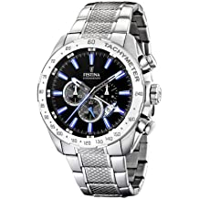 FESTINA F16488/3 - Reloj de caballero de cuarzo, correa de acero inoxidable color plata