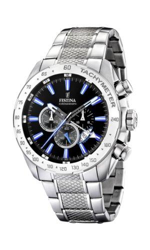 Festina Herren Chronograph Quarz Uhr mit Edelstahl Armband F16488/3 - Uhren Festina