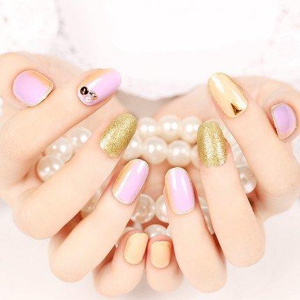 YUNAI faux ongles à coller naturel Brillant faux ongles d'or faux ongles courts
