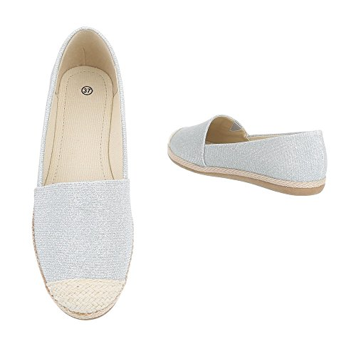 Ital-design Slipper Scarpe Da Donna Low-top Block Tacco Moderno Scarpe Con Tacco Basso Argento 323-bl