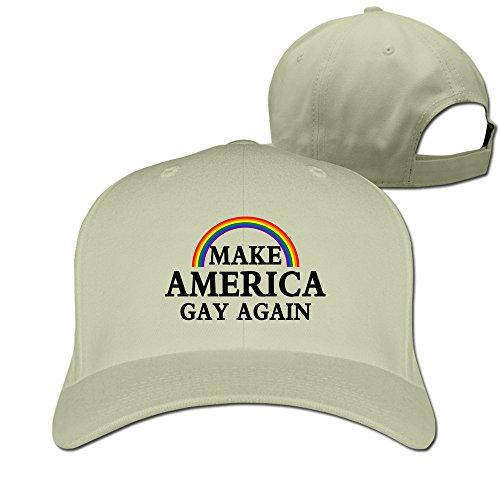 hittings Make America Gay Again Rainbow Funny Adjustable Fitted Cap Baseball Hats Natural