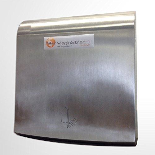 Handtrockner Magic Stream extra flach - elektrischer Händetrockner mit Edelstahlgehäuse, nur 10 cm Tiefe, 950 Watt inklusive Heizung (konform mit kommenden EU-Vorschriften)
