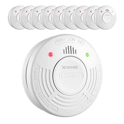 X-Sense Rauchmelder 10 Jahre Laufzeit, TÜV und DIN EN 14604 geprüfter SD10A Rauchwarnmelder mit intelligentem Feueralarm, fotoelektrischem Sensor, 10 Stück