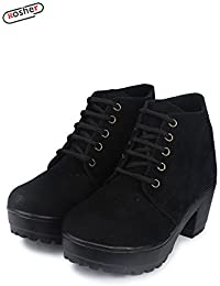 Rosher Stylish Boot- Big Heel Shoes For Women (36, Black)