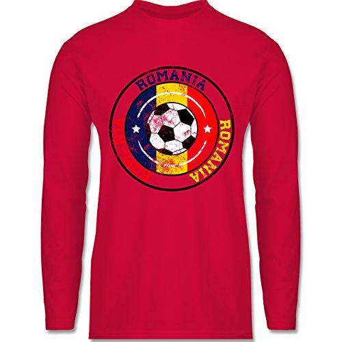 Shirtracer Fußball - Romania Kreis & Fußball Vintage - Herren Langarmshirt Rot