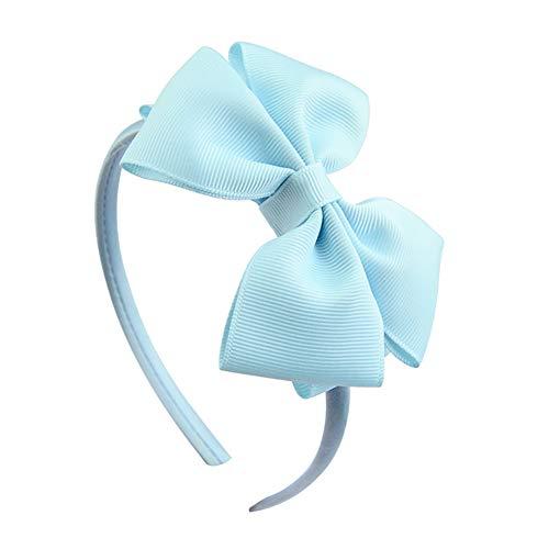 Qinlee Große Ripsband-Schleife Haarband für Mädchen Haareif Haarband mit schöner großer Schleife aus Satin in schwarz, Haarschmuck Stirnband für Party Schule-hellblau - Große Blume Stirnband