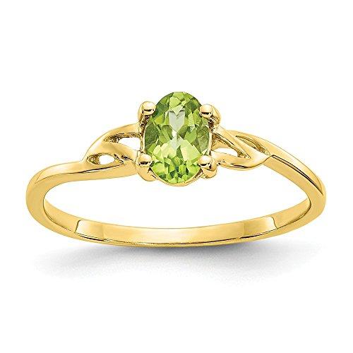 10K Gelb Gold Poliert Peridot Geburtsstein Ring-Größe L 1/2-höherer Goldgrad als 9Karat Gold (10k Birthstone Ring)