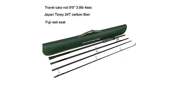 Aventik Escape 24T Carbon Travel Carp Rod 4 pieces 9FT 3.0Ib Fast and Powerful
