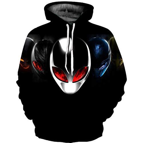 GEFANENR Pullover Unisex,Männer Frauen Liebhaber Digitaler 3D-Drucken Alien Helm Langarm Kapuzenpullover Freizeitaktivitäten Kapuzen-Sweatshirt Jacke Pullover Shirt Wild Neuheit Hoodie,3XL -