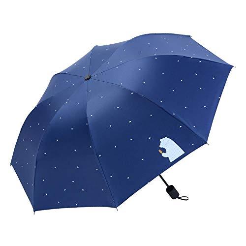 fuchaozhuanmai Taschenschirm Schlichter Sonnenschirm mit UV-Schutz, Eisbär - Marine -