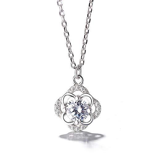 HAOHAO 2019 Neue s925 Sterling Silber Mode Damen pendent Gute Diamant vierblattspange Halskette schlüsselbein Kette (Kostüm Awards Kategorien)