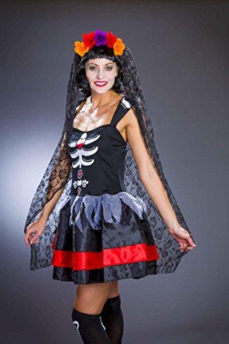 Haarreif schwarzer Spitzenschleier Tag der Toten Halloween ()