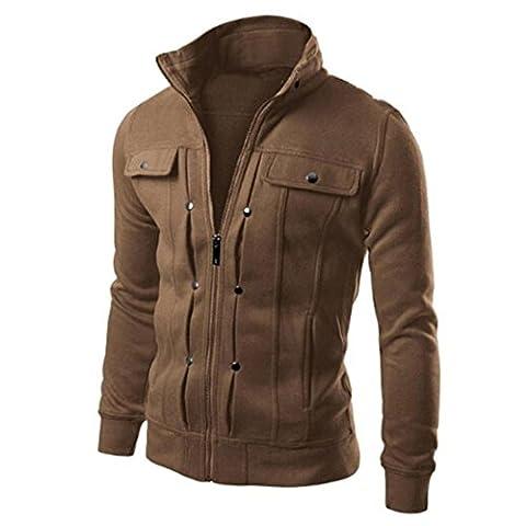 Toamen mode automne hiver Zip manteau Top Blouse-Hommes (L, marron)