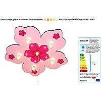 Kinderlampe in Blütenform mit Nachtlicht (Rosa) Deckenlampe Kinderzimmerlampe Deckenleuchte Babyleuchte Babylampe