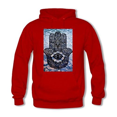 HKdiy Hamsa Hand Custom Men's Printed Hoodie Red-2