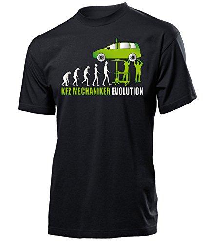 Kfz Mechaniker Evolution 4579 Herren T-Shirt (H-SW-Weiss-Grün) Gr. L