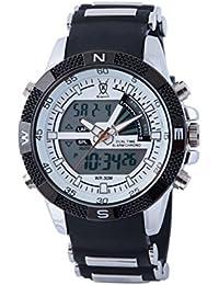 Konigswerk AQ202900G Reloj para hombre, alarma, LCD, dual, cronógrafo, dial blanco, correa de color negro, diseño militar/deportivo