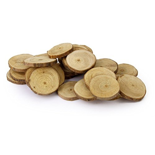 ROSENICE Wooden Tree Log Discs Rustic Wedding Christmas Tree Ornaments, 4-5 cm, 30St