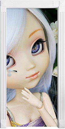 bella bambola in fiori bianchi Bush come Murale, Formato: 200x90cm, telaio della porta, adesivi porta, porta decorazione, autoadesivi del portello