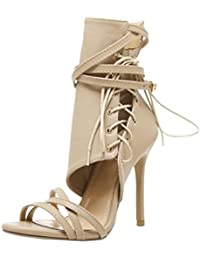 Beautyjourney Sandales Ete, Sandales en Cuir Romaine Boucle Sangle Chaussures  Femmes Sandales Sexy Sandales Hauts Talons… 2c87ac79cf6a
