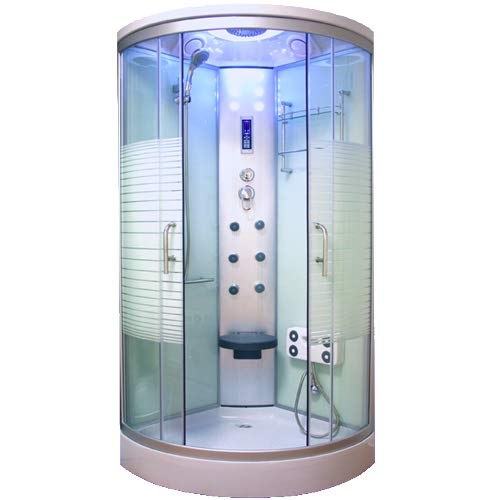 OimexGmbH Arielle Weiss LED Duschkabine 100 x 100 cm Komplettdusche mit Massagefunktion Armaturen Sicherheitsglas (ESG) Dusche