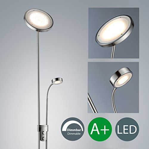 Lámpara de pie de salón I LED I Regulable I Lámpara de lectura I Color de la luz blanco cálido I Brazo giratorio I Foco redondo I 230 V I IP20 I 21 W I Altura total: 1800 mm