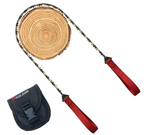 Kaleas Handkettensäge - jetzt mit Verschleißbeschichtung aus Hartgold, 41 Zähne, Werkzeugstahl, verlängerte Halteschlaufen, Premium Survival Baumsäge Astsäge Gartensäge Schnursäge für Camping, Garten, Outdoor, inkl. Gürteltasche (Kaleas 56011) -