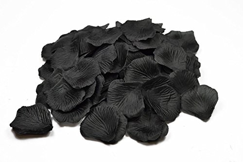 100 petales de Roses en Fibre DE Tissus Compact Plusieurs Coloris pour Deco de Table Mariage (Noir)