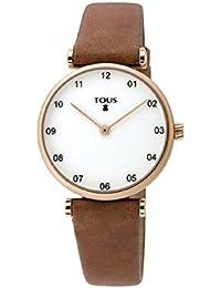 Reloj TOUS Camille de acero IP rosado con correa de piel marrón con Bolso verano TOUS de regalo
