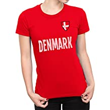 De Las Mujeres Denmark Country Name and Badge Camiseta Fútbol Copa del mundo2018 Señoras Sports