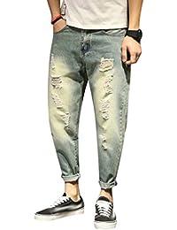 Yiiquan Jeans Uomo Strappati Lavato Pantaloni in Denim Uomini Straight  Pantaloni Jeans Moda bdbffe2d0fe3