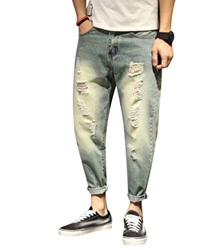 Yiiquan jeans uomo strappati lavato pantaloni in denim uomini straight pantaloni jeans moda stile 2 40