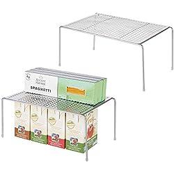 mDesign Set de 2 étagère Cuisine - Rangement Cuisine autoportant en métal - Petit Range Vaisselle de Cuisine pour Tasses, Assiettes, Aliments, etc. - Couleur argenté