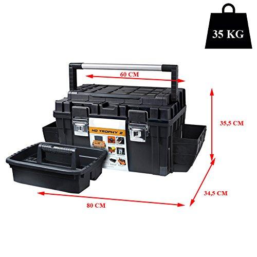 Kunststoff Werkzeugkoffer HD Box Trophy 2 Plus, 80×35,5cm Kasten Werzeugkiste Sortimentskasten Werkzeugkasten Anglerkoffer - 2