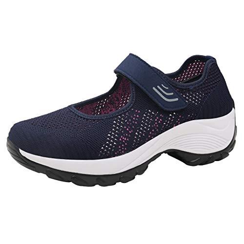HOUMENGO Zapatos de Señora Plantilla con Memoria Pequeña Cuña Zapato Informal De Malla Zapato Mecedora...
