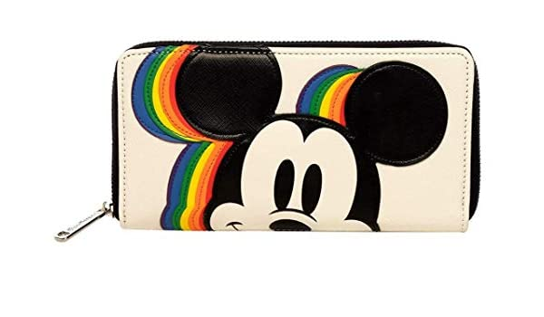 SALE NEW Loungefly x Disney Mickey Rainbow Zip Around Wallet
