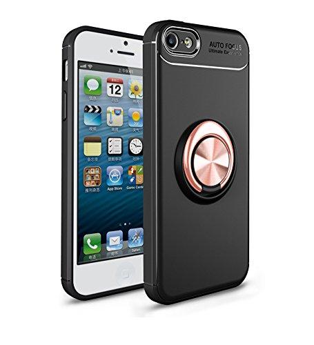 Mosoris iPhone 5S Hülle, iPhone SE Handyhülle Ring Kickstand Silikon Cover 360 Grad Drehbarer Ständer Magnet Ring, Stoßfest Rüstung Schutzhülle Bumper Tasche Case für iPhone 5,Schwarz + Rosé Gold - Iphone Bumper Schwarz Case 5