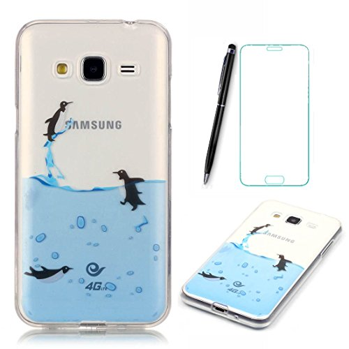 Lotuslnn Samsung Galaxy Grand Prime/SM-G530 G531F Hülle,Samsung Galaxy Grand Prime Case TPU Silikon Transparent Schutzhülle Tasche Housse (Hülle+ Stylus Pen + Tempered Glass Protective Film)- Pinguin Case Protective Film