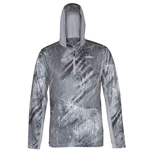 HABIT Herren Kapuzenpullover 1/4 Zip Performance Layer, RT Fishing Frost Grey/Dusk, Größe M -