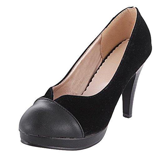 Mee Shoes Damen modern reizvoll populär runder toe Nubukleder Trichterabsatz Spleiß Pumps mit hohen Absätzen Schwarz