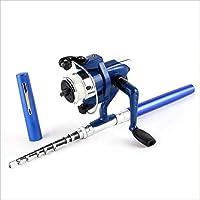 Funnyrunstore Súper liviano lápiz Pluma portátil Conjunto de Pesca Mini telescópico caña de Pescar Polo + Carrete de Bolsillo Carrete de Pesca Accesorios (Color: Azul)