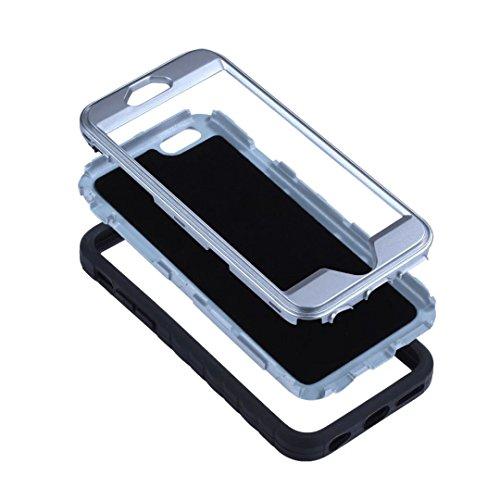 iPhone 7 Plus Coque,Lantier Design unique antidérapant avec clip pour ceinture Housse de protection résistante aux chocs 3 en 1 pour iPhone 7 Plus 5.5 inch Noir+Marine Belt Clip Series Black+Silver