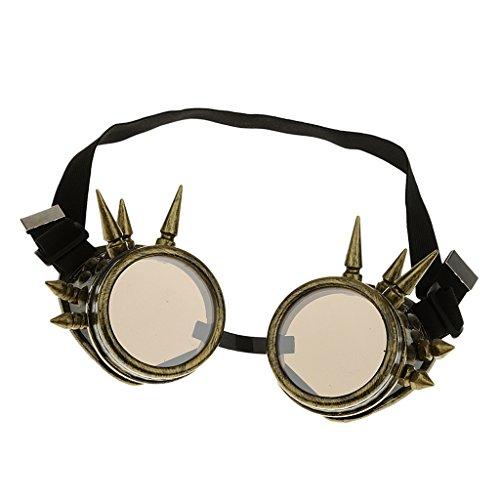 Rivet Steampunk Winddicht Spiegel Weinlese-gotische Objektive Goggles Glasses - Bronze, one (Objektiv Halloween)