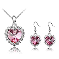 Beydodo Alloy Earrings Necklace (Jewelry Set) For Women Heart Shape Pink